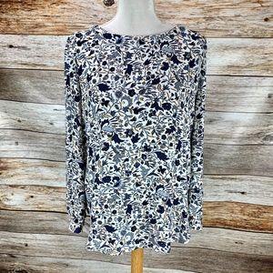 LOFT Blouse Shirt Blue Chintz Floral Long Sleeve